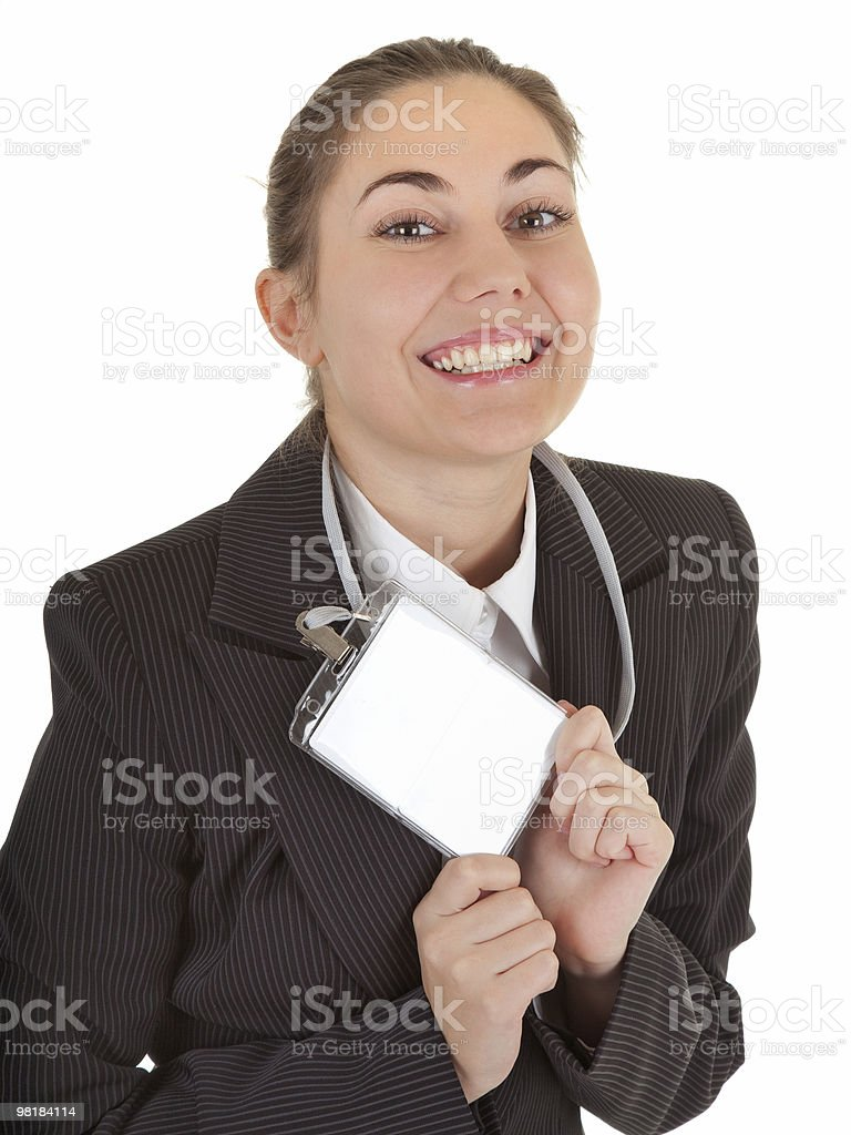 business woman with blank badge royalty-free stock photo