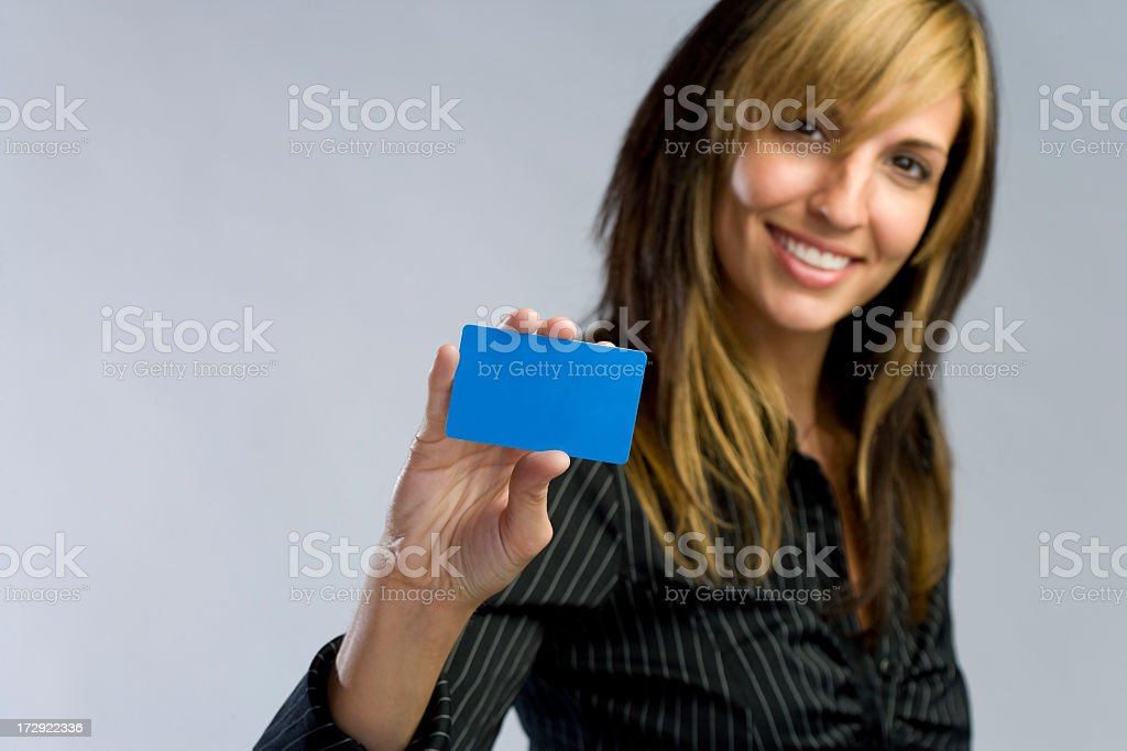 Business woman with Card stock photo