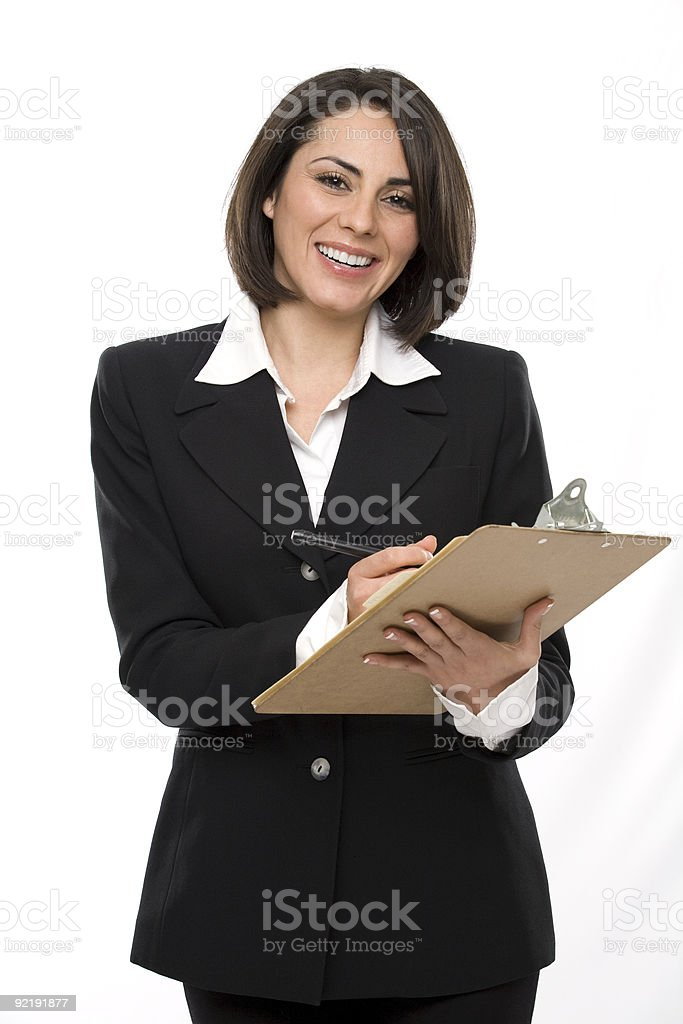 Business woman with clipboard royalty-free stock photo