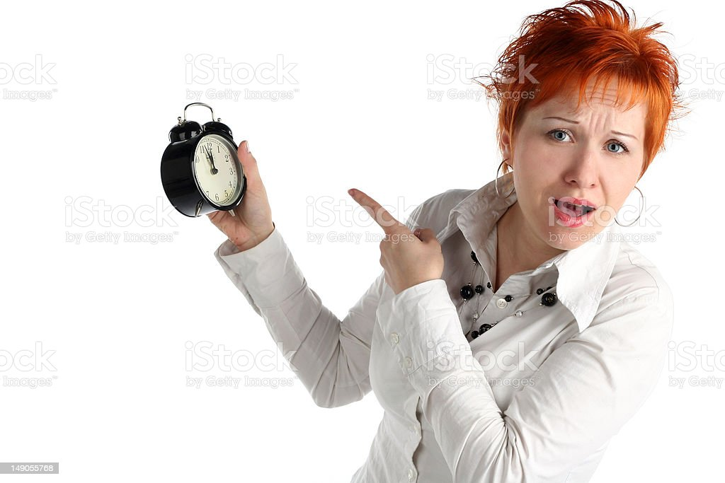 Business woman with clock. Time is over! Deadline concept royalty-free stock photo
