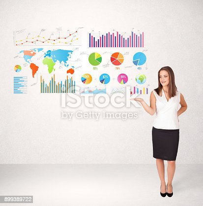 171361168 istock photo Business woman with colorful graphs and charts 899389722
