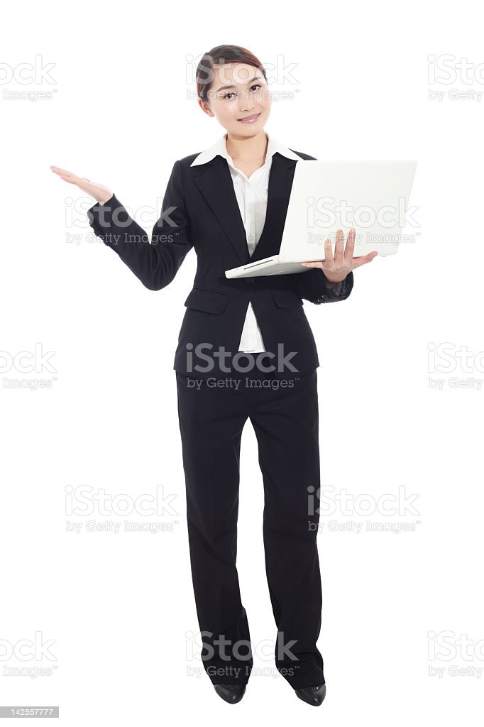business woman with computer stock photo