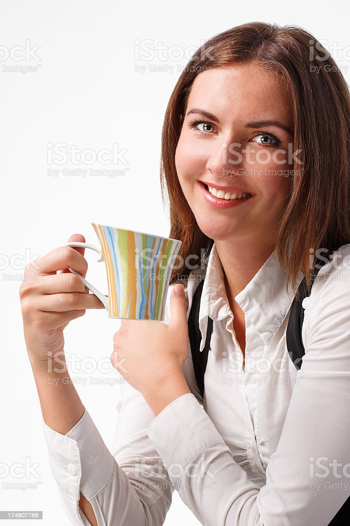 business woman with cup royalty-free stock photo