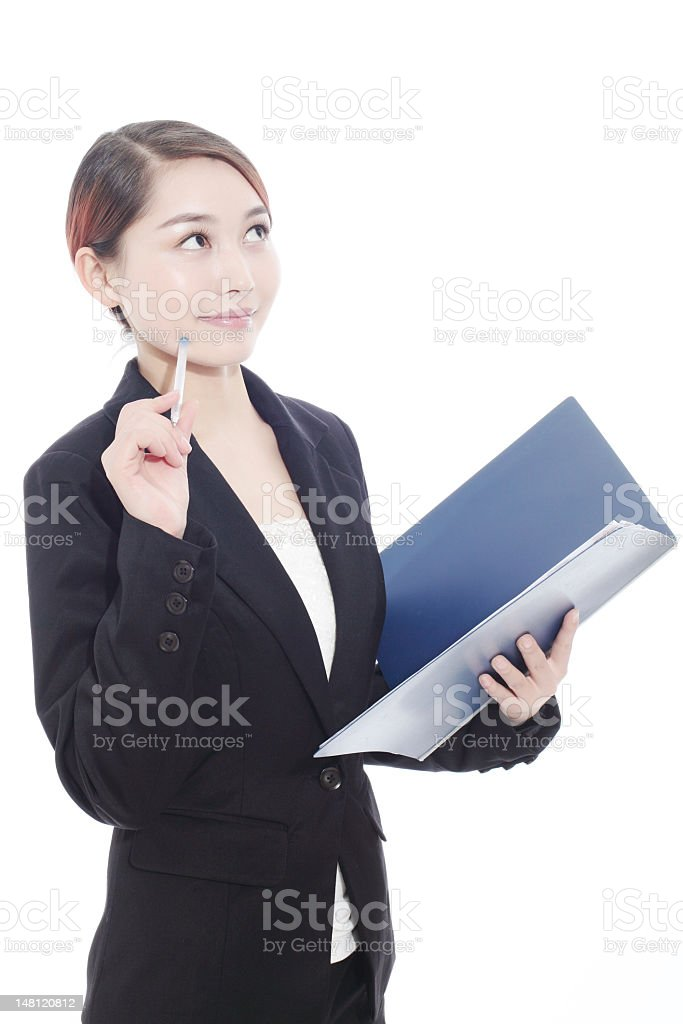 business woman with document and thinking stock photo