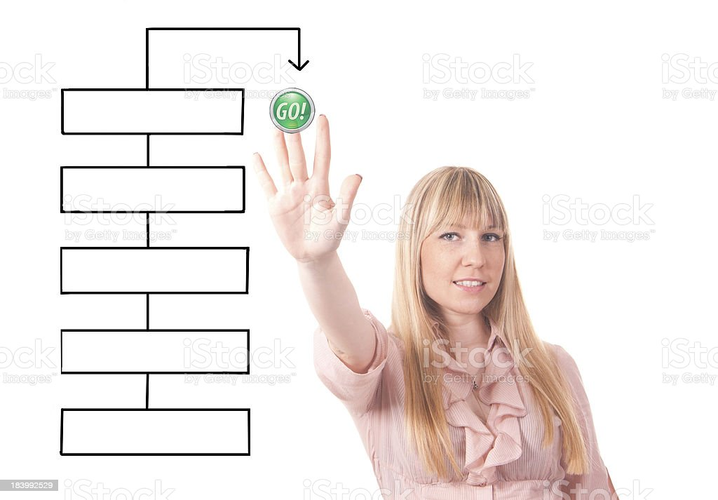 business woman with empty diagram stock photo