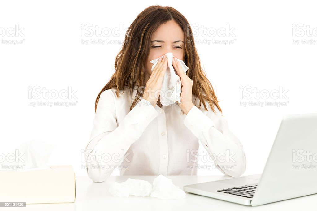 Business woman with flu stock photo