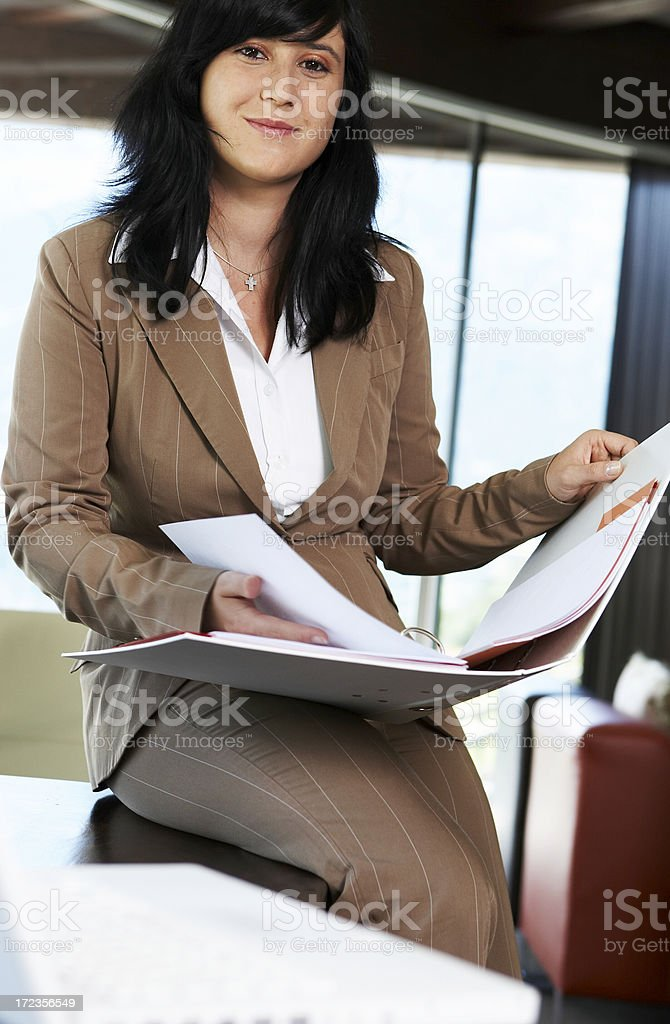 business woman with folder royalty-free stock photo