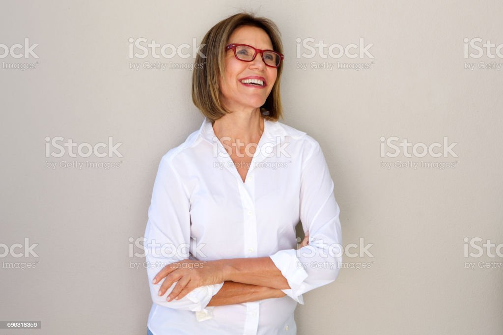 business woman with glasses smiling stock photo