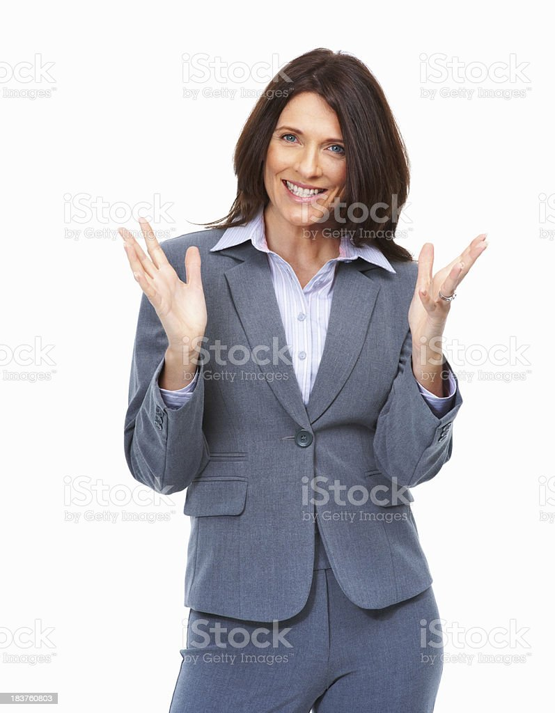 Business woman with hands gesture on white background stock photo