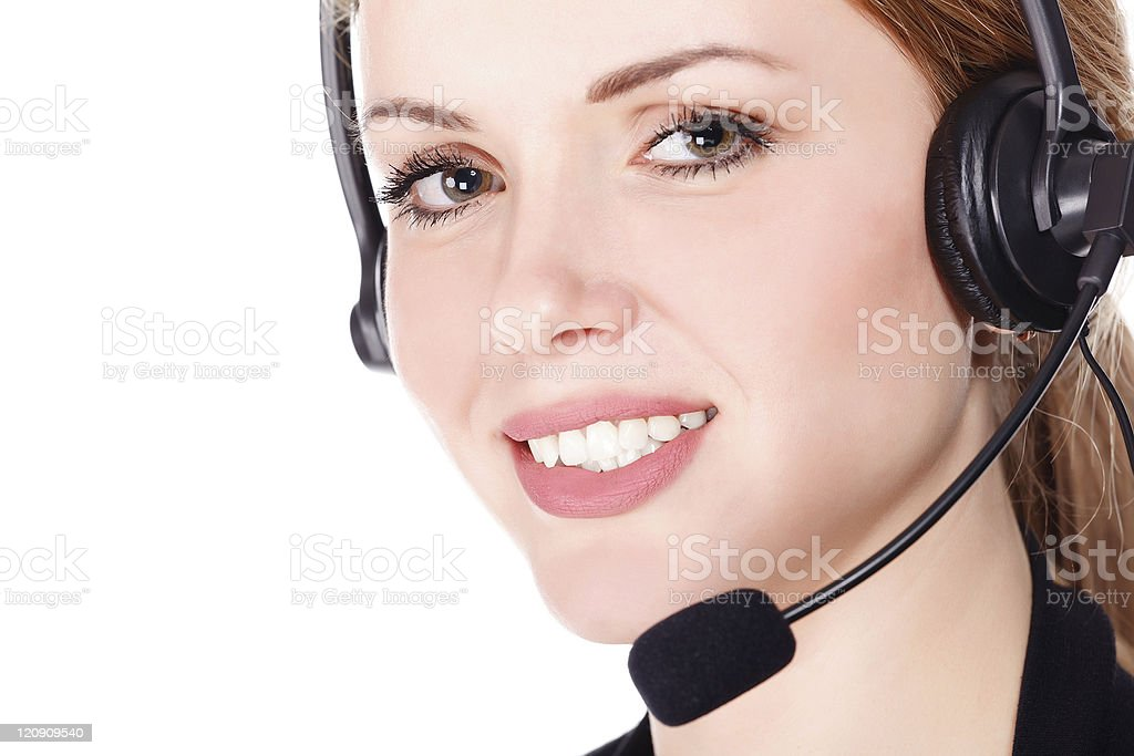 Business woman with headset royalty-free stock photo