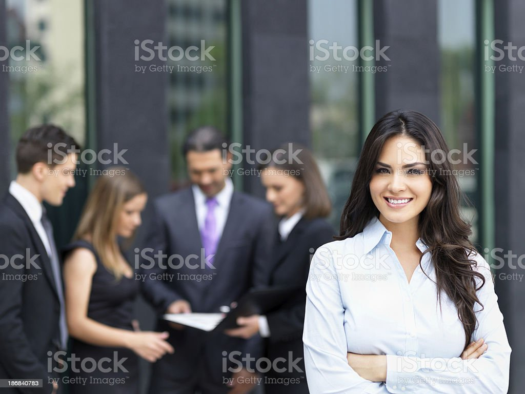 Business woman with her team royalty-free stock photo