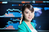 business woman with information screen