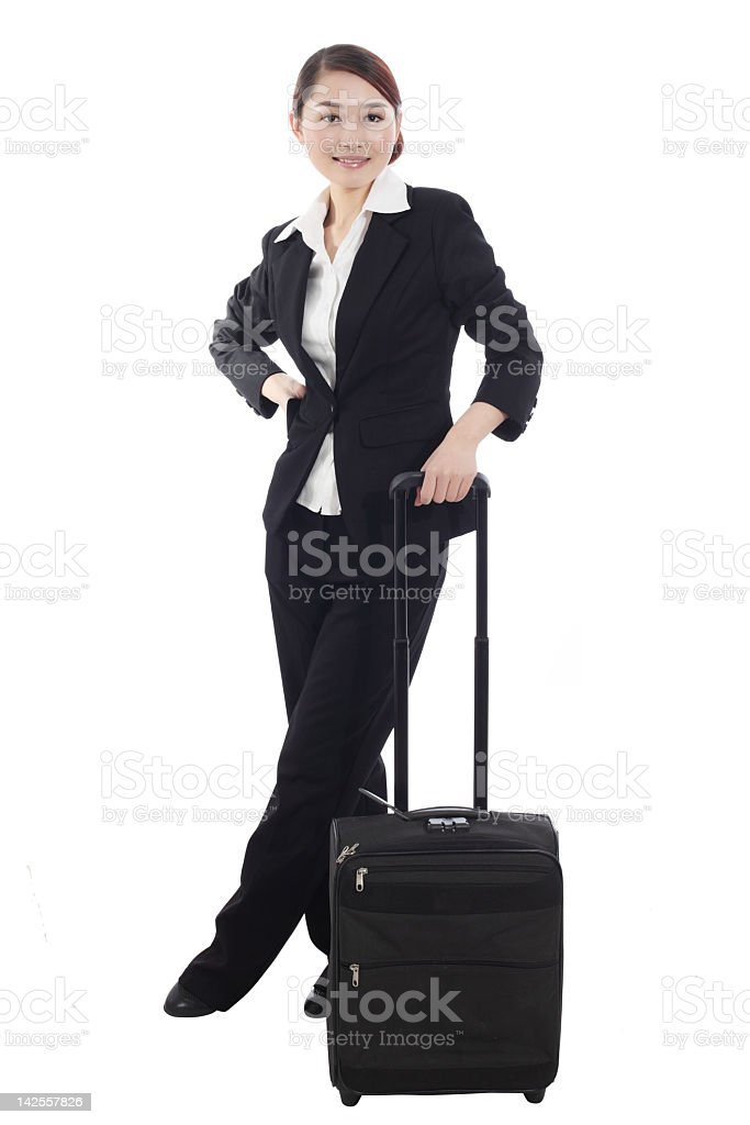 business woman with Luggage stock photo