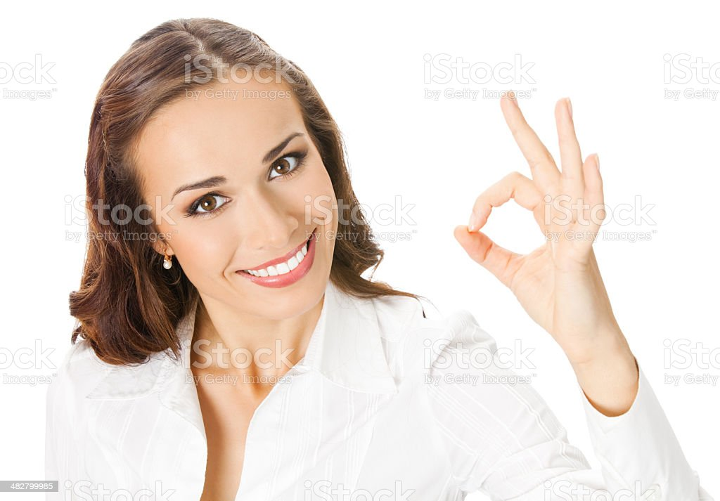 Business woman with okay gesture, on white stock photo