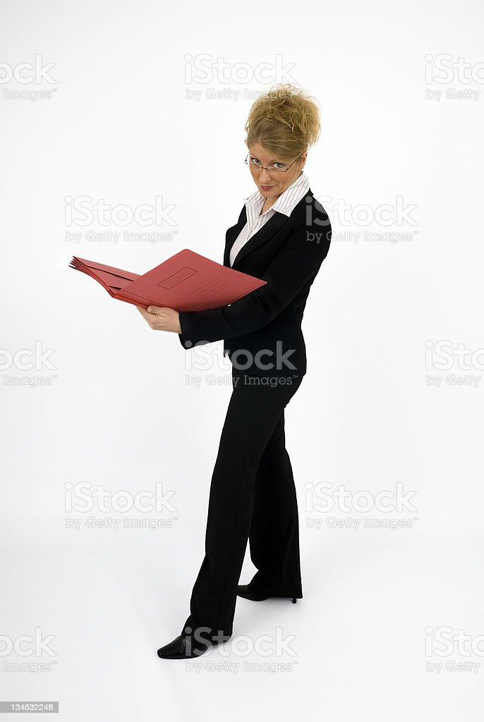 Business woman with red folder royalty-free stock photo