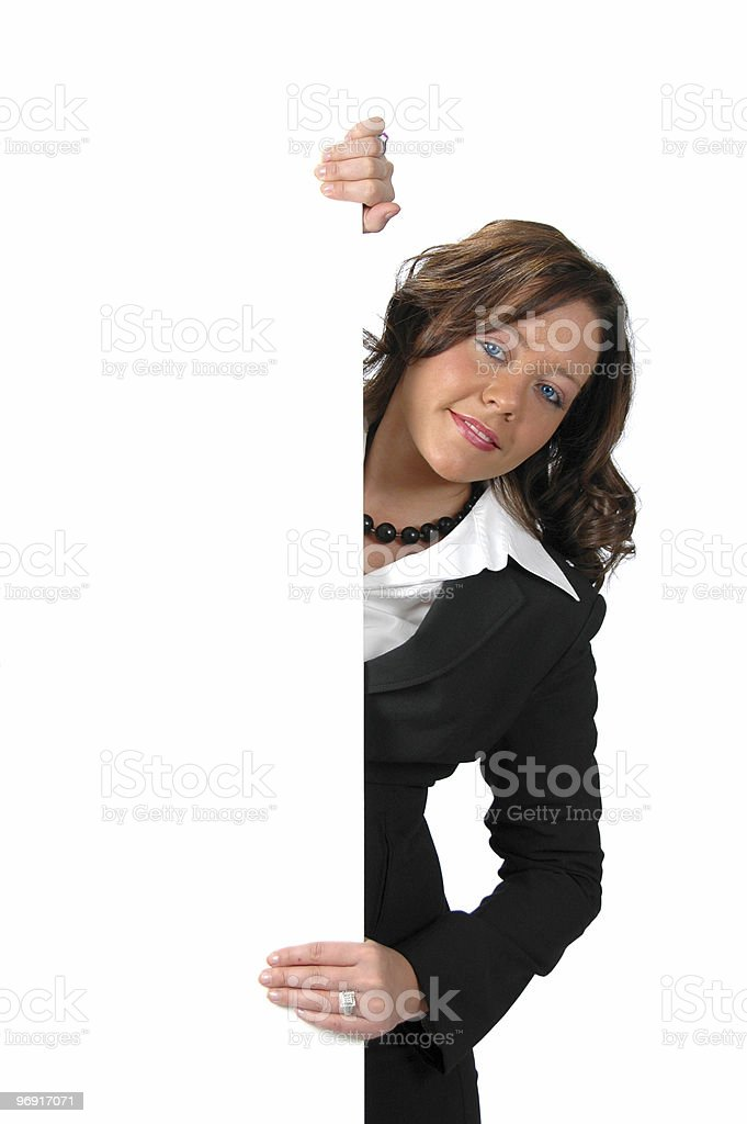 Business woman with sign royalty-free stock photo