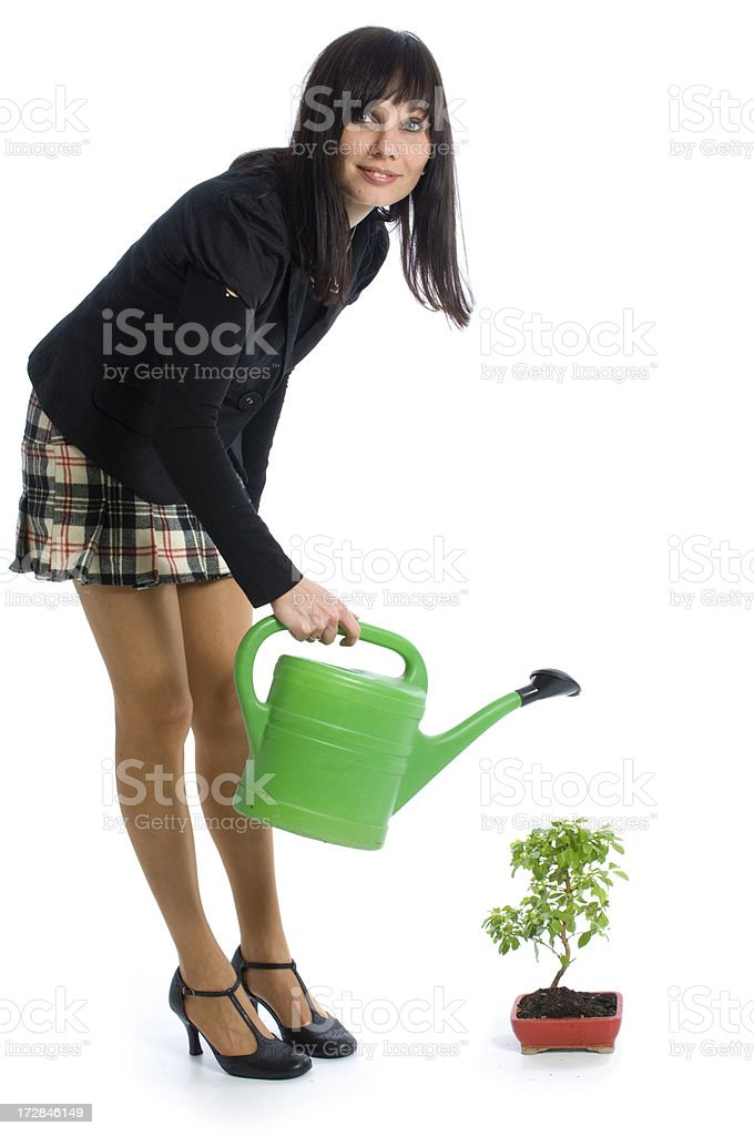 Business woman with small tree royalty-free stock photo