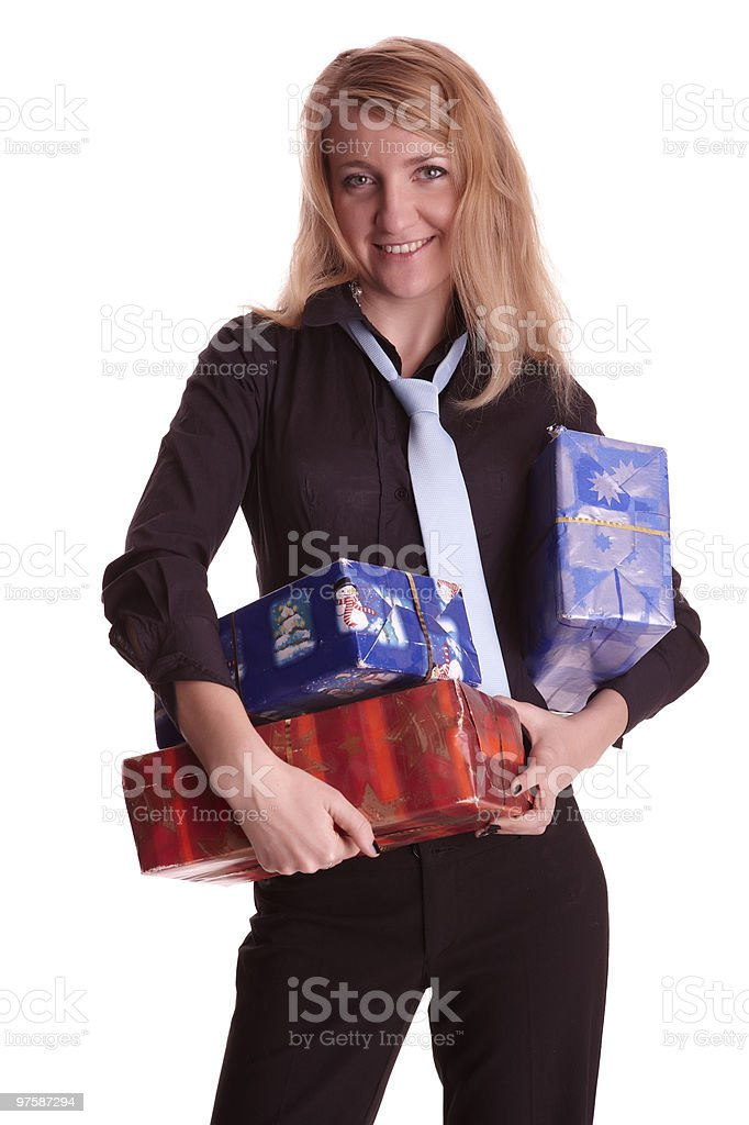 Business woman with some packets in her hands royalty-free stock photo
