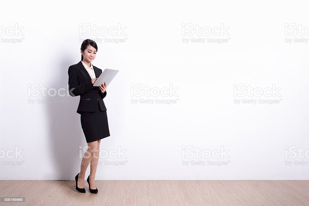 Business Woman with tablet pc stock photo