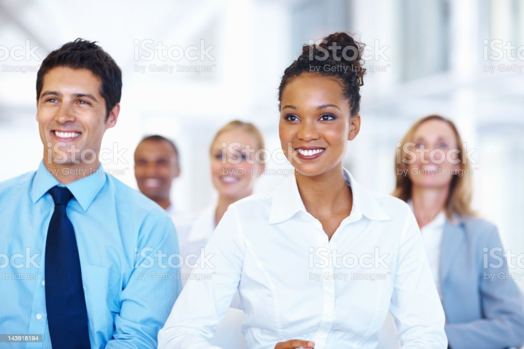 Business woman with team at seminar royalty-free stock photo