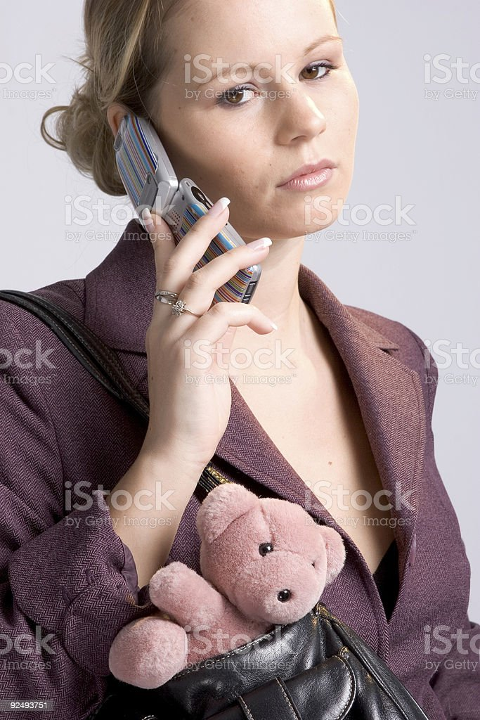 business woman with teddybear royalty-free stock photo