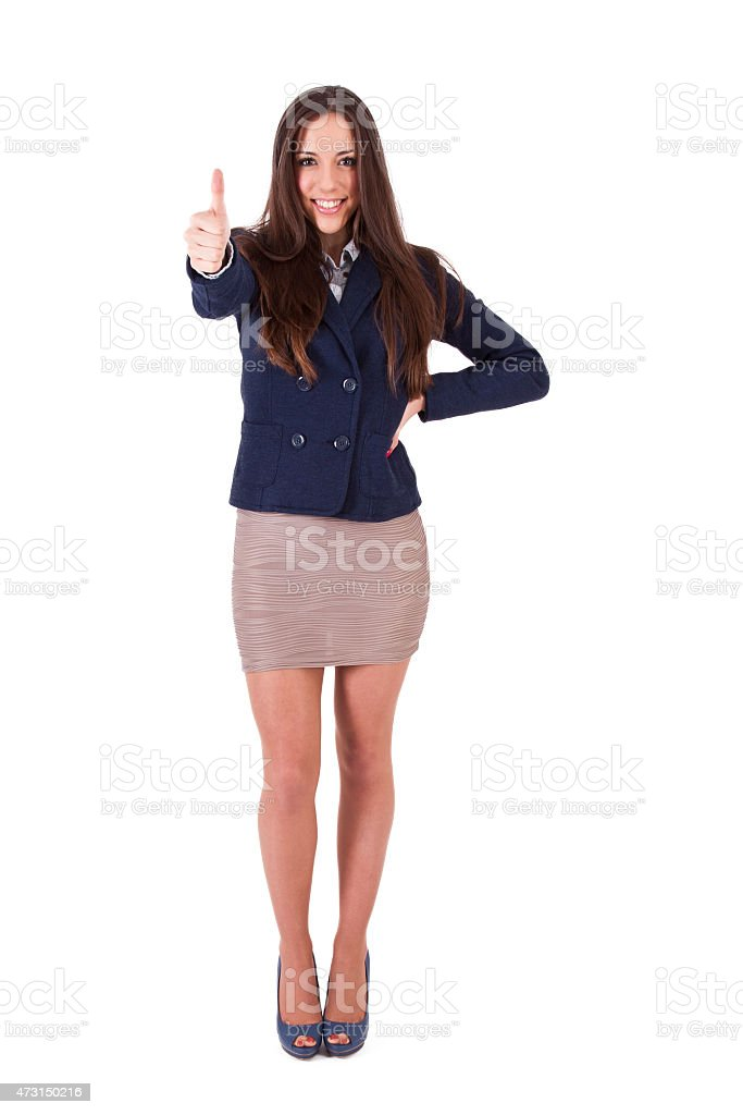 Mujer de negocios con la señal de aprobación - foto de stock