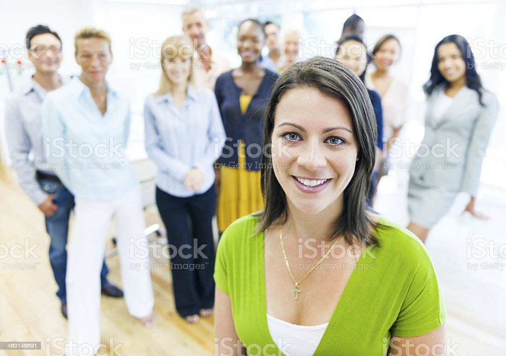 Business Woman with the Team in Office stock photo