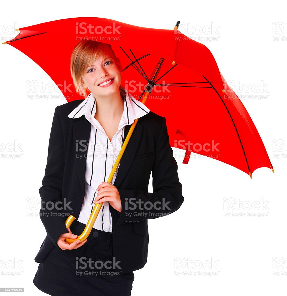 Business woman with umbrella royalty-free stock photo