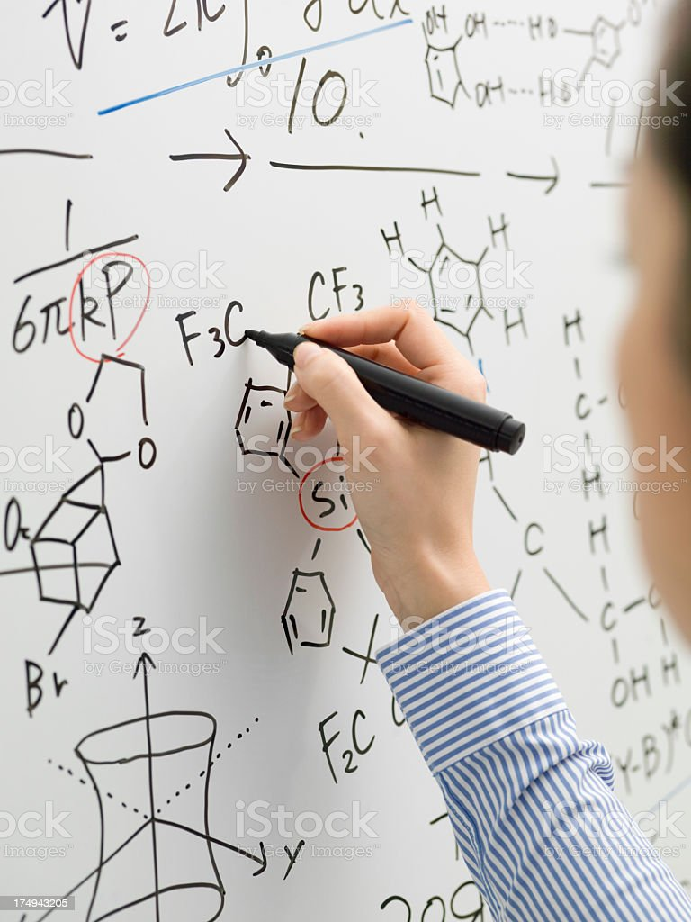 Business woman with white board to write the information. royalty-free stock photo