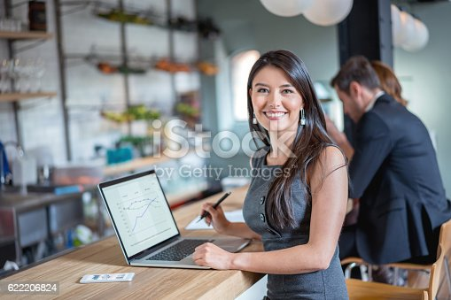 istock Business woman working at a cafe 622206824