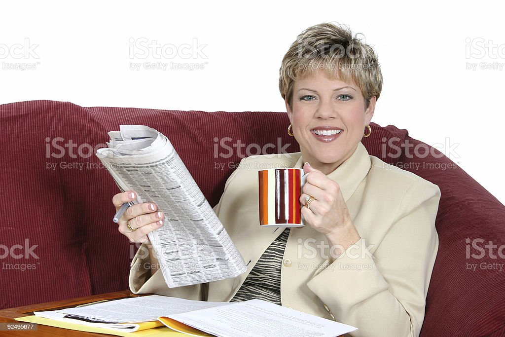 Business Woman Working at Home on Couch royalty-free stock photo