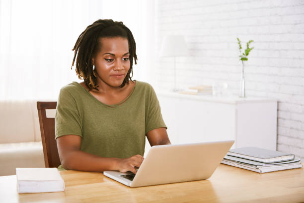 Business woman working from home stock photo