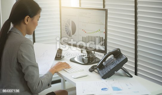 istock Business woman working in office with business graph on computer 664337136