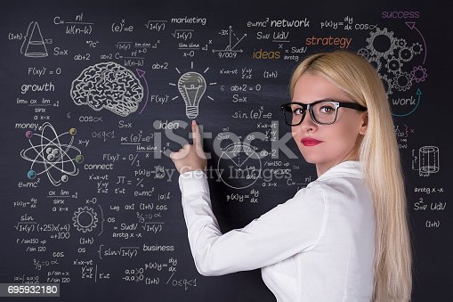 istock Business woman working on the blackboard 695932180