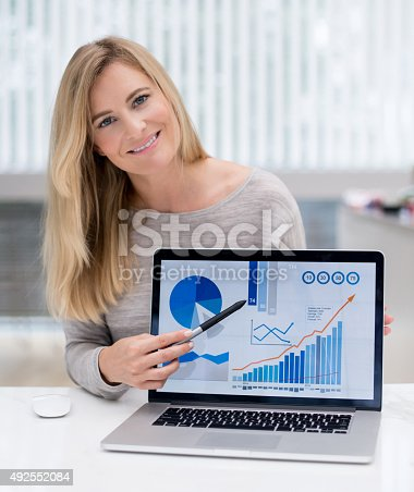 850852928 istock photo Business woman working online at home 492552084