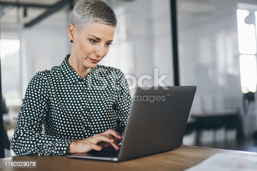 Business woman working using lap top in the office