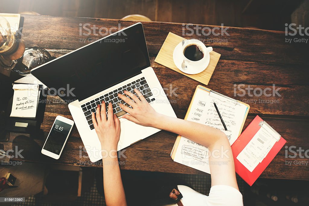 Business Woman Working Planning Ideas Concept stock photo