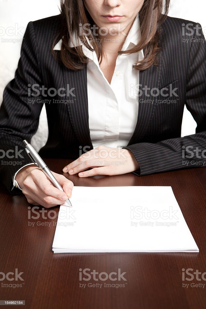 Business woman working with documents in the office royalty-free stock photo