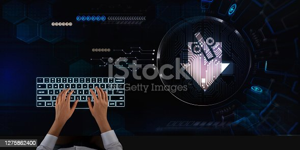 Business woman works on touch screen about Economic trajectory