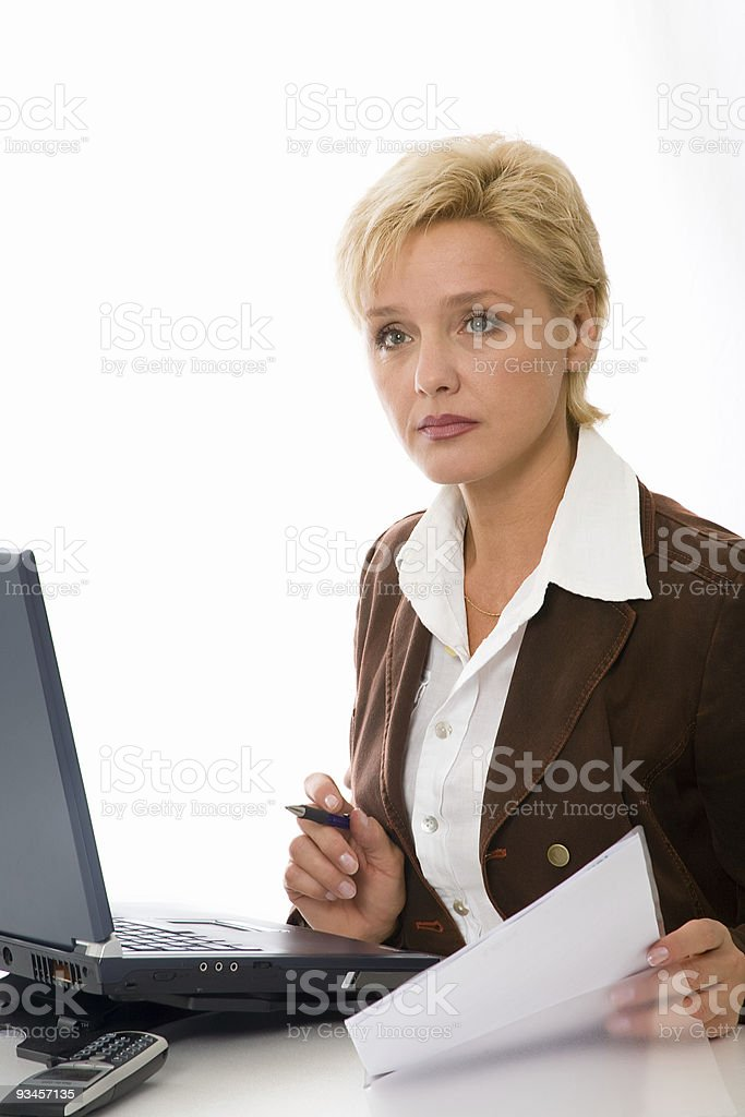 business woman works with the document royalty-free stock photo