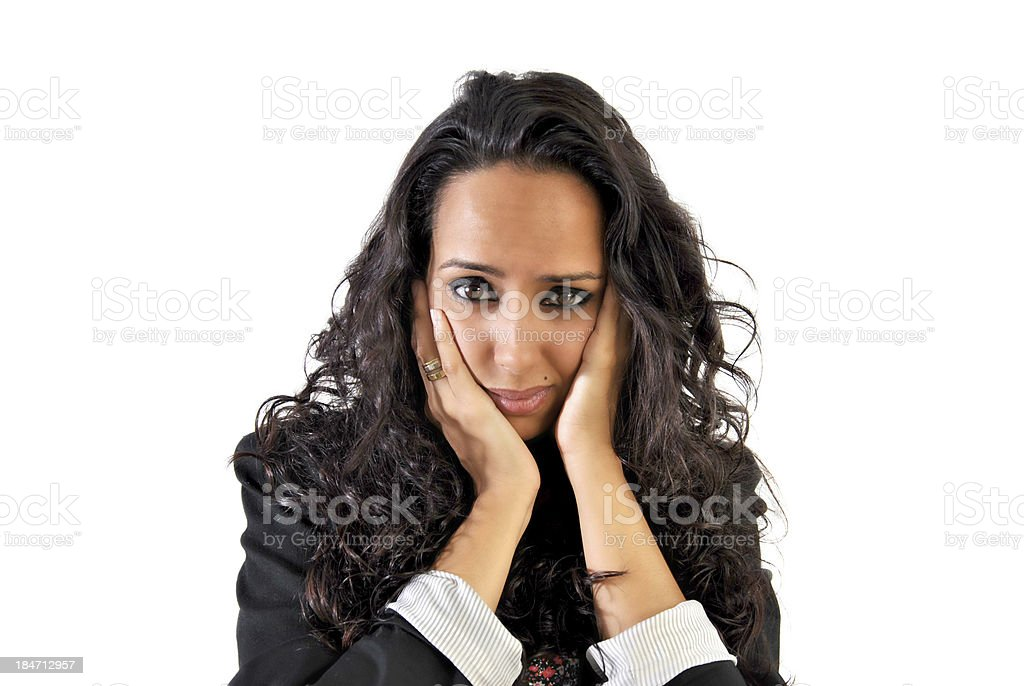 business woman worried or scared royalty-free stock photo