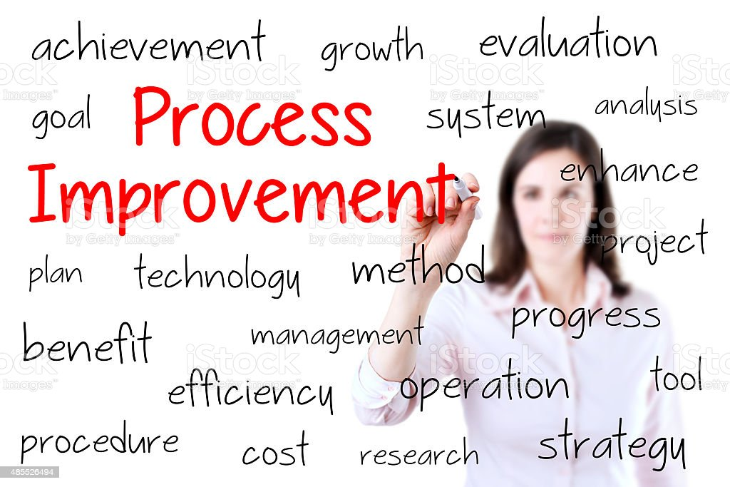 Business woman writing process improvement concept. stock photo
