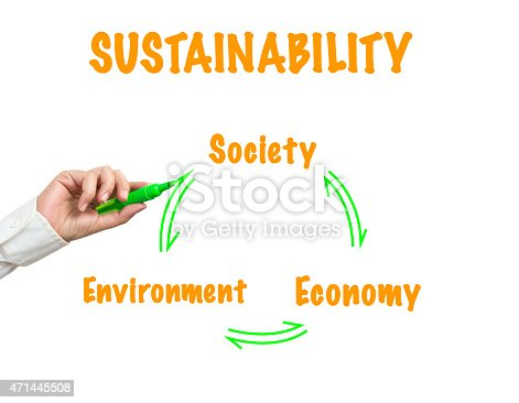business Woman writing sustainability concept