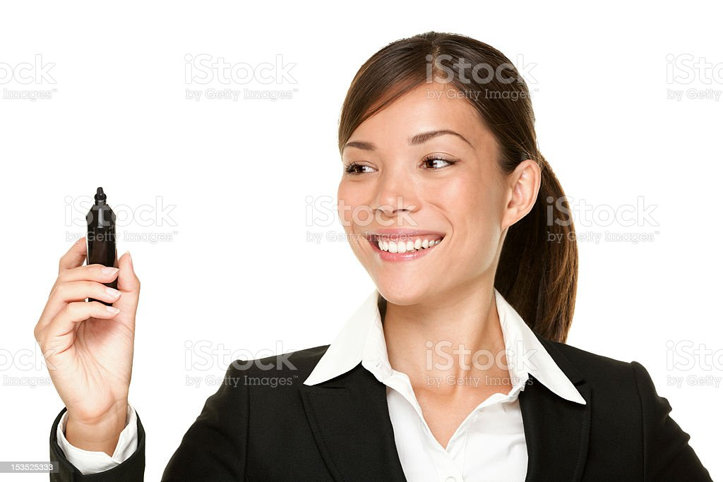 business woman writing with pen royalty-free stock photo