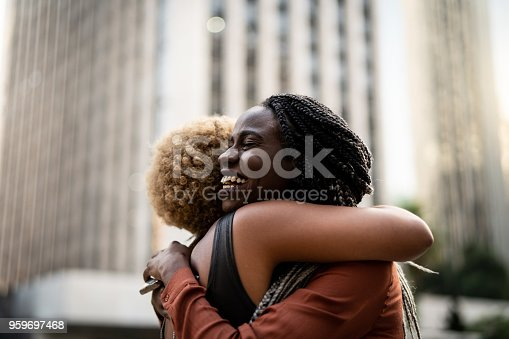 istock Business woman/students embracing 959697468