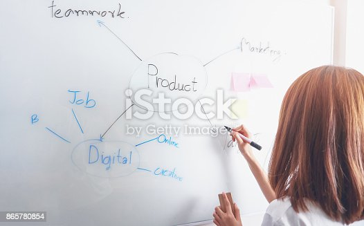 istock Business women are presenting a working diagram to customers. To achieve the goal, The concept of courage makes the work out better. 865780854