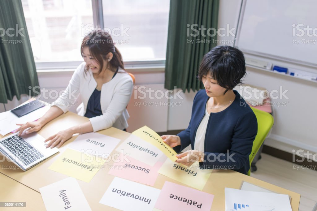 Business women discussing in meeting room royalty-free stock photo