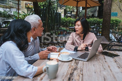 Image of Business Women Explaining an Investment Plan To Senior Couple.