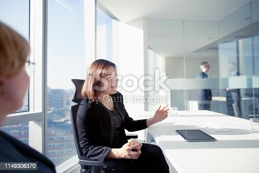 496441730 istock photo Business women making presentation in modern meeting room 1149306370