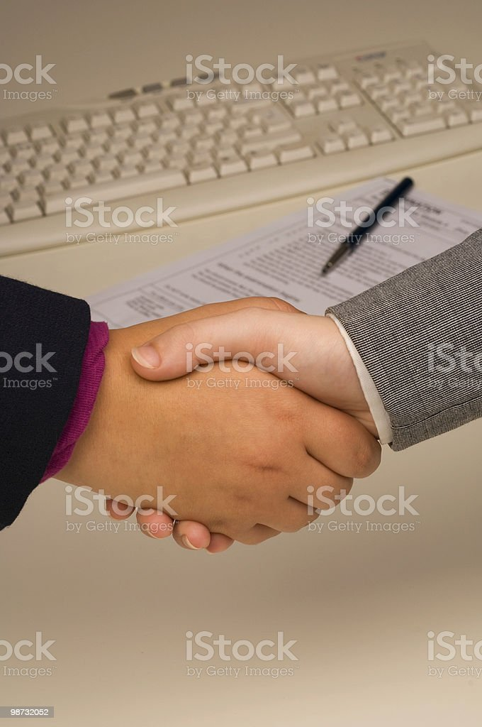 Business women shaking hands after concluding a deal 免版稅 stock photo